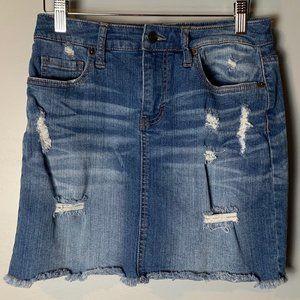 Mossimo Denim Skirt Size 6 28 Distressed Pockets